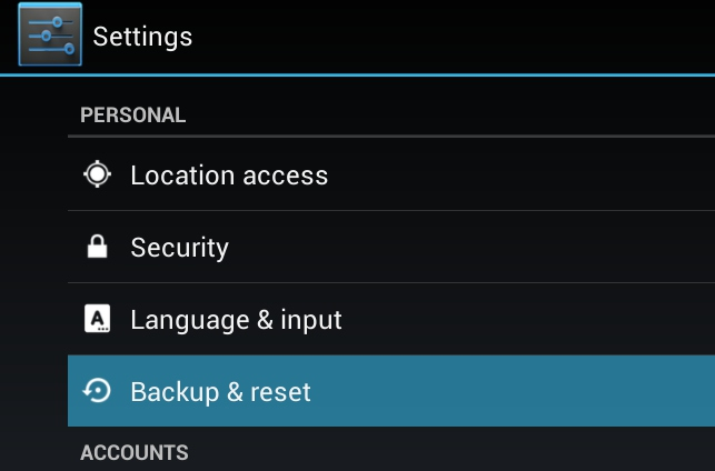 android backup reset speed up android phone performance