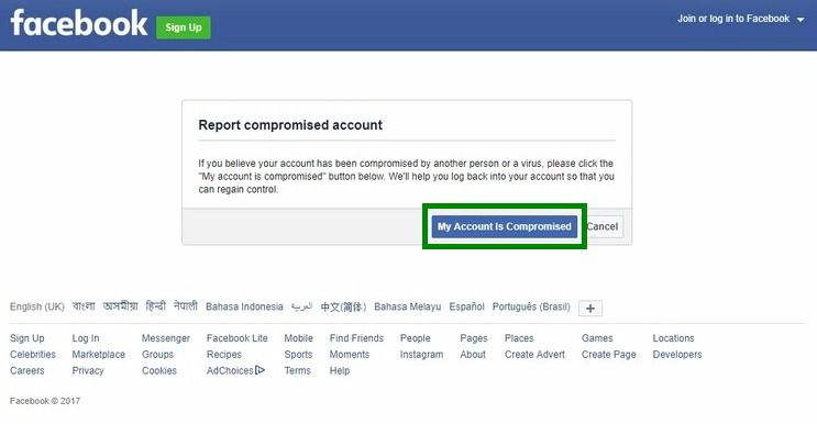 Facebook My account is compromised recover hacked facebook account
