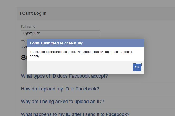 Facebook identify submission confirmation recover hacked facebook account
