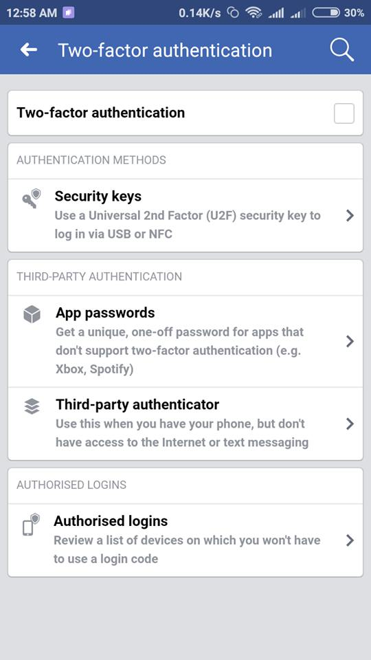 Select any Of The Verification method facebook two-step verification