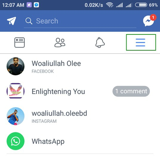facebook code generator settings menu