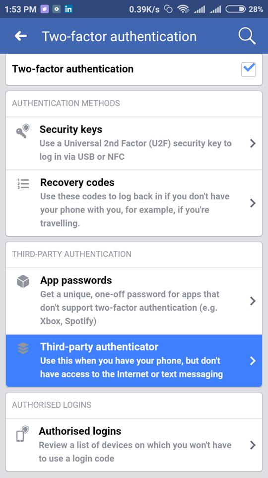 Third party Authentication facebook two-step verification