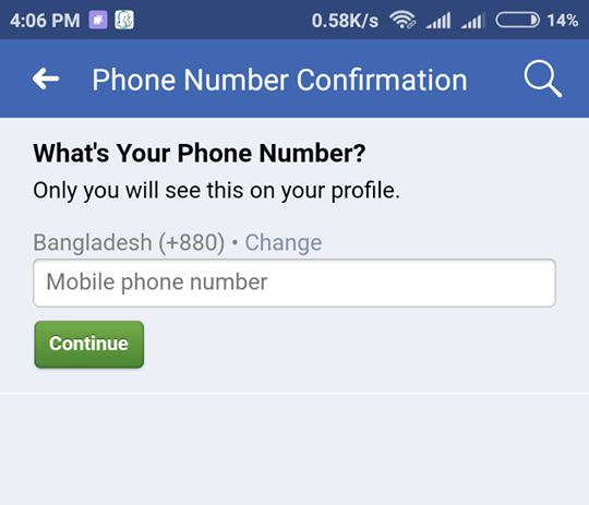 Facebook phone number confirmation facebook one time password
