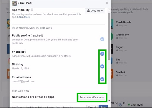 Facebook Apps Settings 8 ball pool make facebook profile private