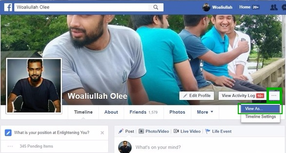 Facebook profile view as make facebook profile private