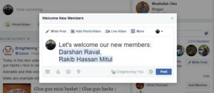 Write Welcome Post for facebook group new facebook features