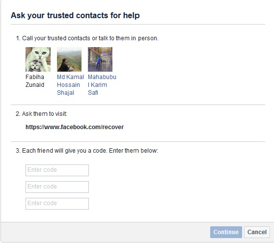 Ask Your Trusted Contacts For Help to recover hacked facebook account