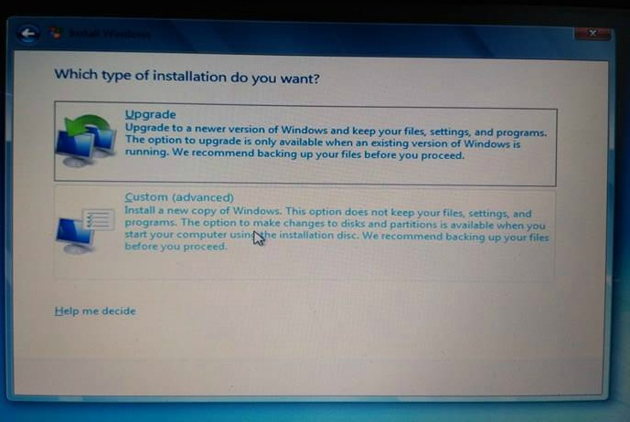 Custom-advanced-install windows 7 from usb