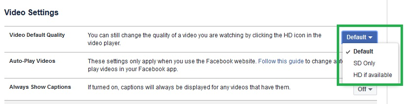 Video default quality faceboo video settings
