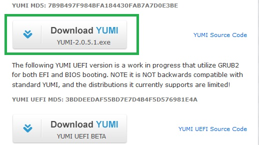Yumi windows exe file Download to Install windows 7 using usb