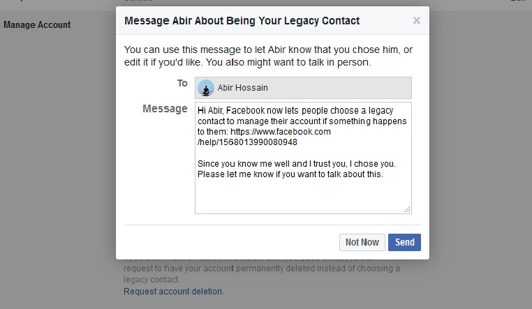 facebook legacy contact add message