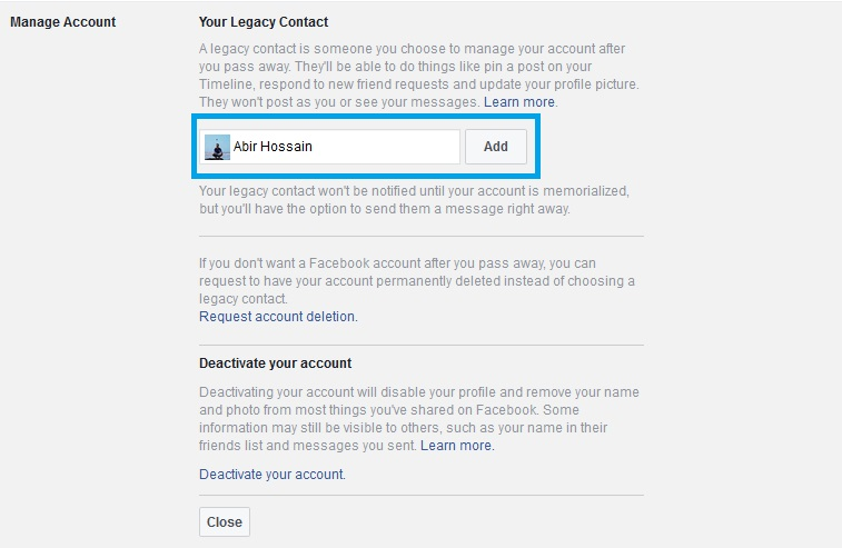 facebook legacy contact add