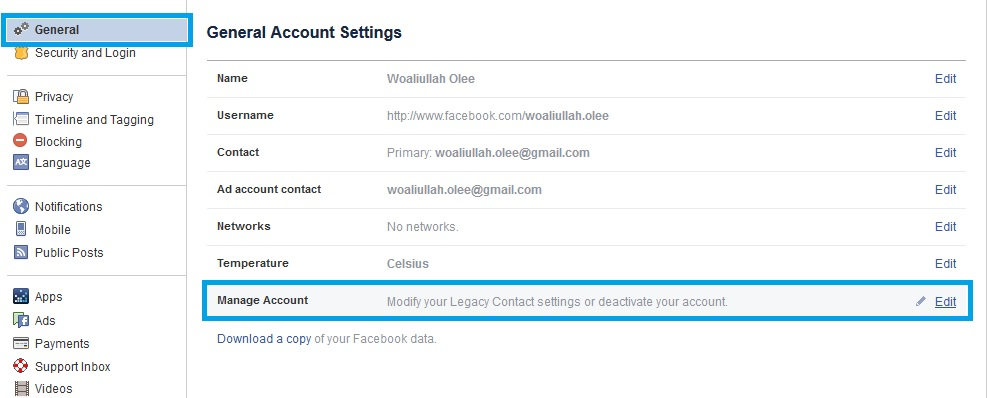 facebook legacy contact settings
