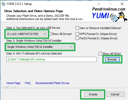 install windows 7 from usb with yumi software