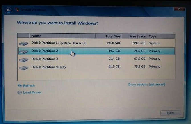 partition install windows 7 from usb