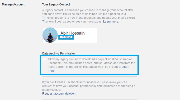 Data archive permission facebook legacy contact