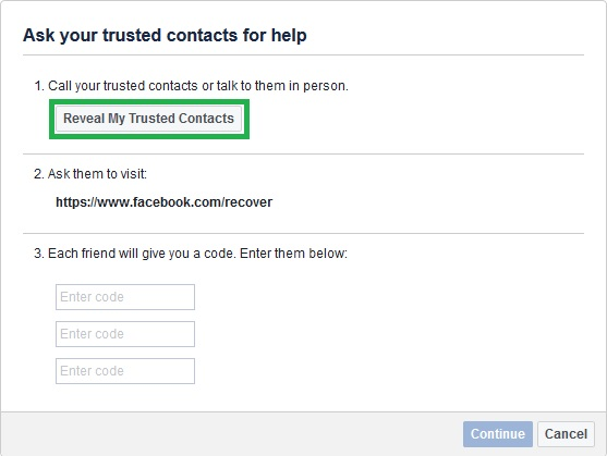 reveal my trusted contacts to recover hacked facebook account